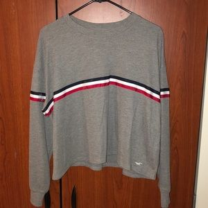 Hollister Long Sleeve Grey Waffle Nit Shirt